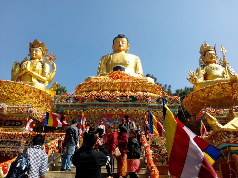 three-buddha-statues-in-the-temple-in-kathmandu-nepal